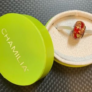Chamilia art glass bead in red & gold